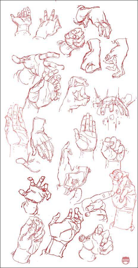 sketch esbozo de las manos