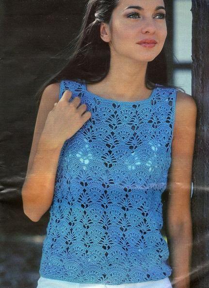 Top Free Crochet Graph Pattern : Blue Tank Top free crochet graph pattern Crocheted ...