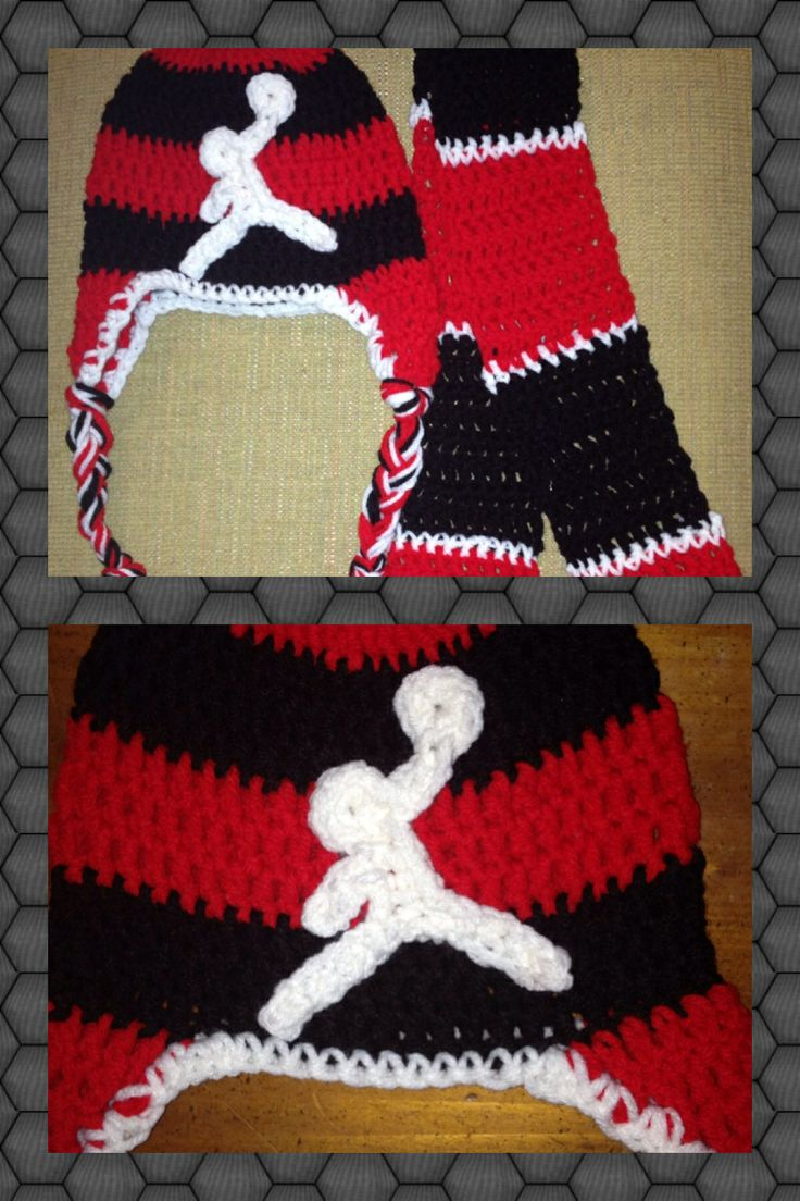 Crochet Air Jordan beanie and scarf set #crochet #Air Jordan #beanie ...