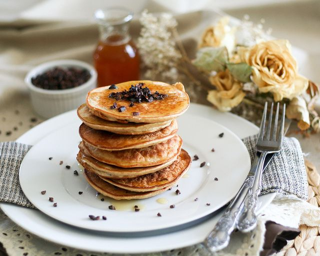 Coconut and Cacao Nibs Pancake Tower | Recipe