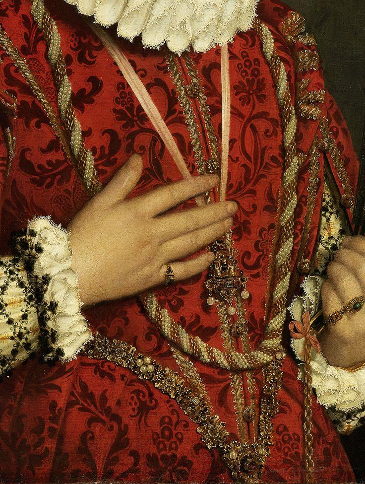 Giovanni Battista Moroni,Portrait of a Young Woman (1560 - 1578) detail.