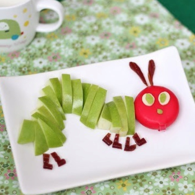 Apple and Cheese Caterpillar, fun snacks for kids
