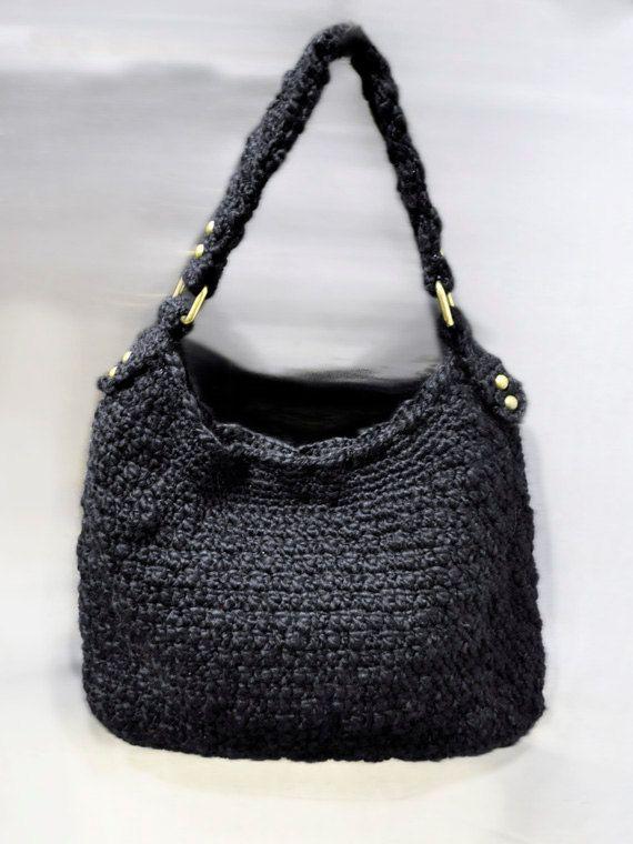 Crochet Hobo Bag : Starry Night crochet wool hobo bag by CrochetbyBettyJo on Etsy, $80.00