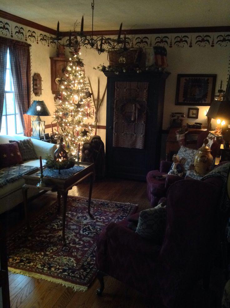 Primitive living room living spaces pinterest for Primitive living room ideas