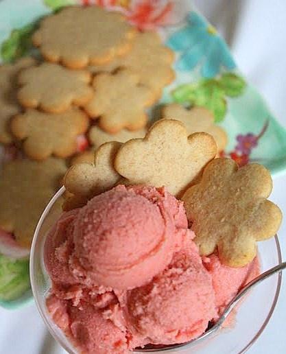 Tart Cherry Frozen Yogurt with Crispy Honey Cookies . . .