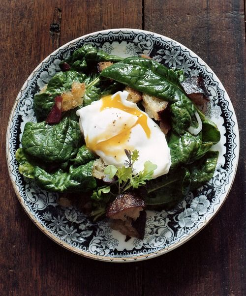 warm spinach salad with poached egg   Gastrogasms: Salads   Pinterest