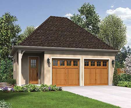 Charming detached 2 car garage for Brick garage designs