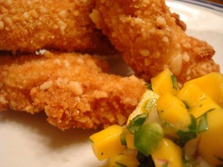 Macadamia Crusted Chicken with Mango Salsa!! I had this on our Cali ...