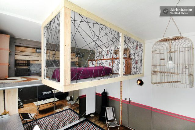 Comfortable design mezzanine bed interiors residential - Chambre style loft industriel ...