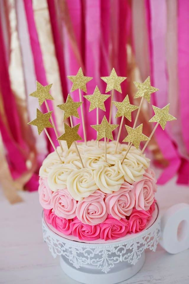 This Pink and Gold Star Ombre Cake is almost too cute to eat! #cake #dessert #recipe