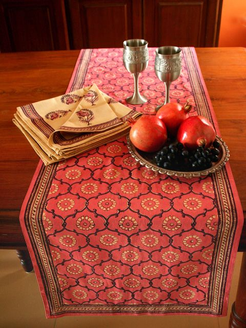 Decorative Floral Rose Pink Dining Table Runner Saffron Marigold