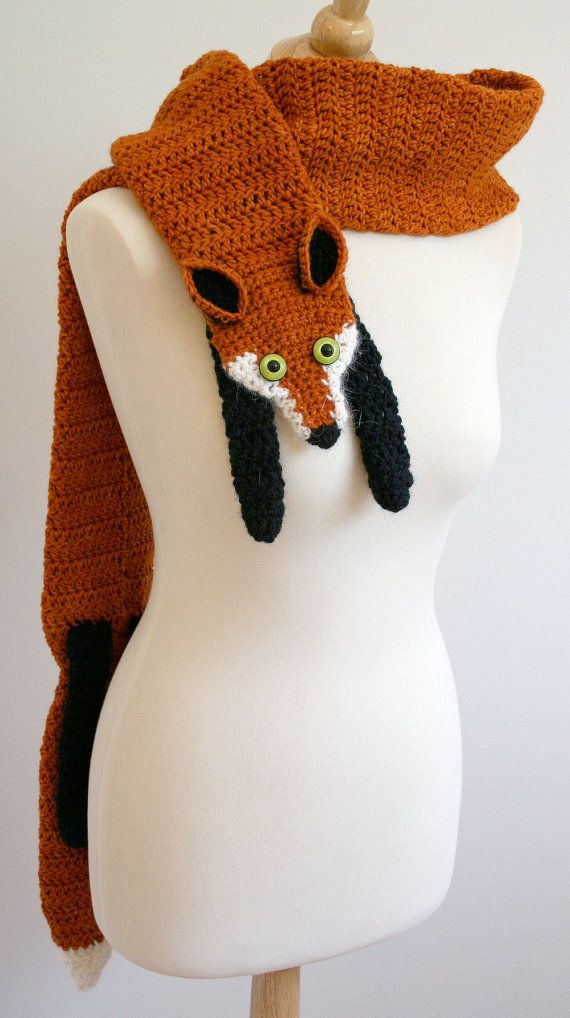 Fox Scarf Knitting Pattern : PDF Crochet Pattern for Fox Scarf - DIY Fashion Tutorial