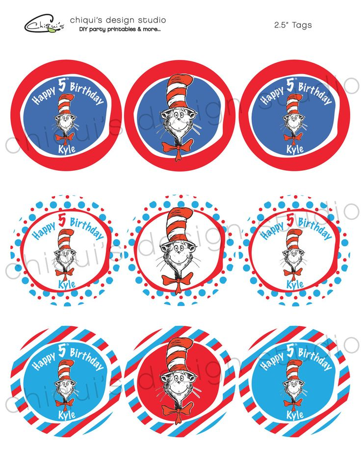 Dr. Seuss Cat In The Hat - 2.5 inch PRINTABLE Personalized Party Tags ...