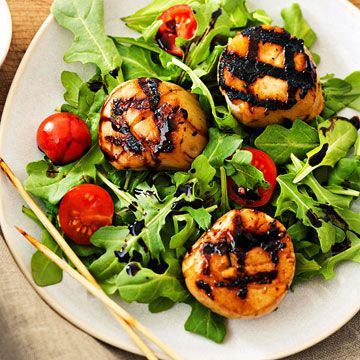 Grilled Scallops With Mint Pesto And Balsamic Syrup Recipes ...