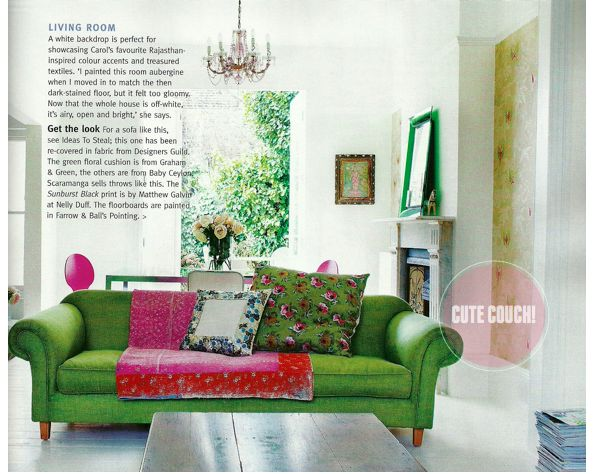 Lime green lounge with dark pink accents, via Pinterest