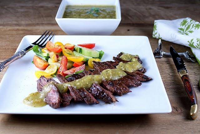 roasted tomatillo salsa verde with grilled skirt steak