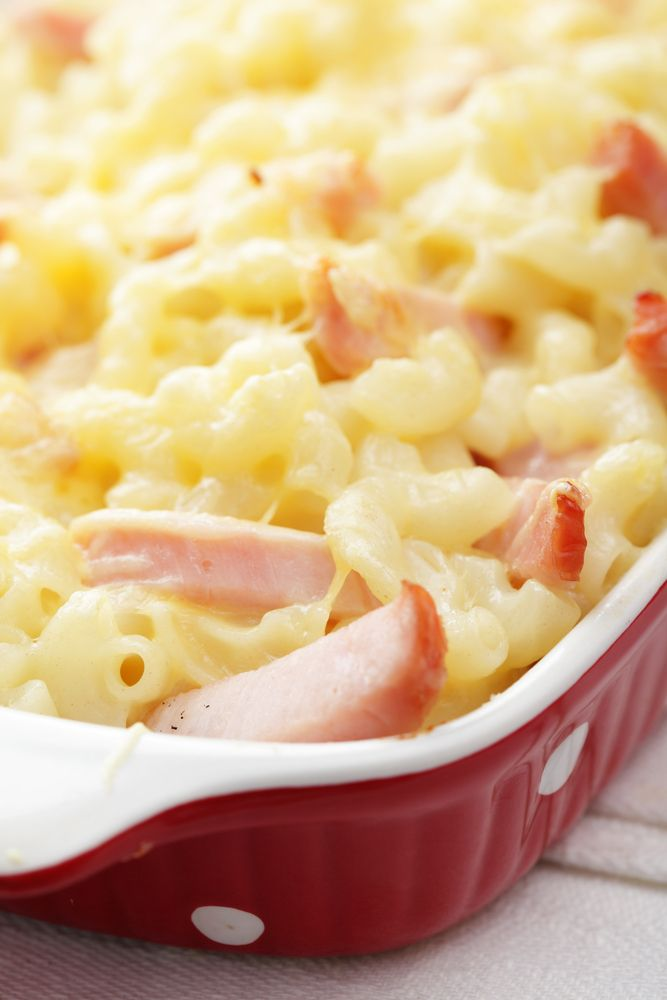 Macaroni and Cheese Ham Pie-3 cups shredded cheese, 1 cup cubed ham, 1 ...
