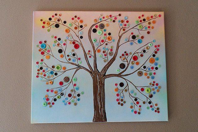DIY Button Canvas Wall Art Diy Pretty Pinterest