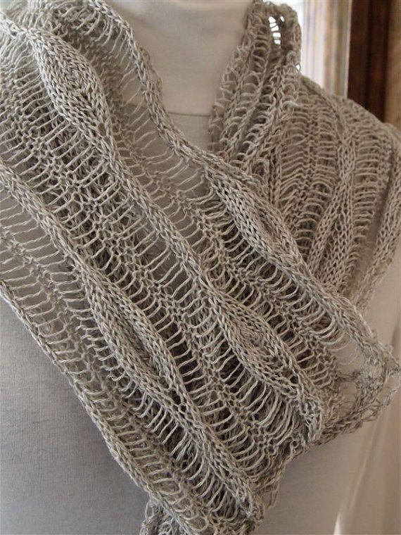 Hand Knitting Patterns : Long Leaves PDF Scarf Hand Knitting Pattern by KnitChicGrace