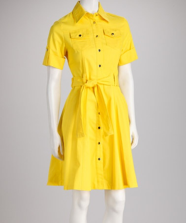 ... Yellow Tie-Waist A-Line Shirt Dress by Sharagano on #zulily today
