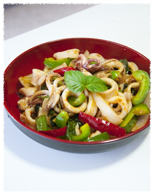 Thai Basil Squid. Yummo! | yuummmmo's | Pinterest