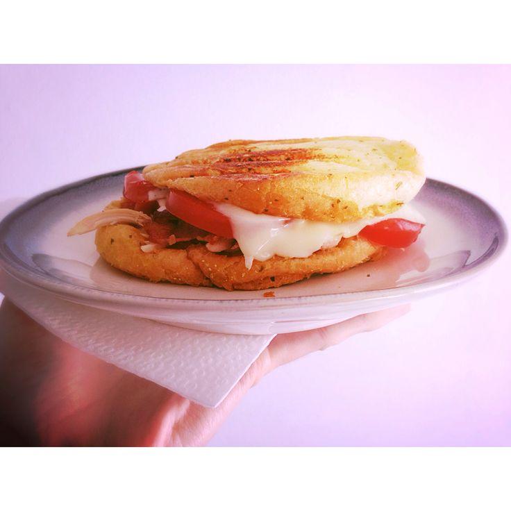 Chicken bacon ranch panini with Texas toast garlic bread. Practically ...