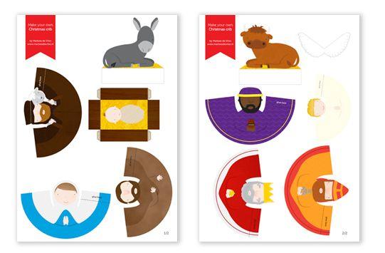 Para recortar y pegar este Nacimiento que incluye además de los Reyes Magos, el buey y la mula. Los niños pueden crear su propio escenario ||Marloes de Vries | blog: Maak je eigen Kerststal/Make your own nativity set!