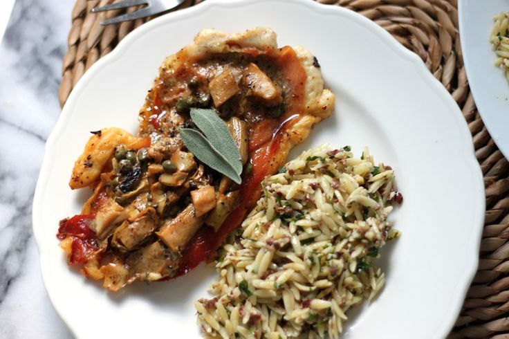 Chicken Saltimbocca with Creamy Lemon Sauce & Olive Orzo