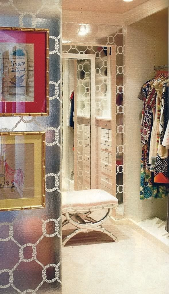 closet mirrored wallpaper dressing room dream
