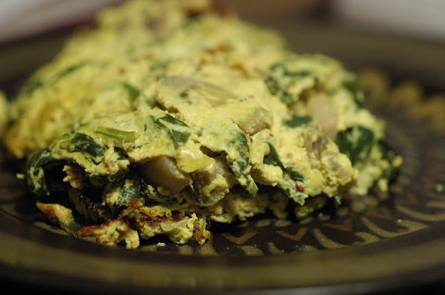 Vegan spinach and mushroom frittata | The Everyday Vegetarian