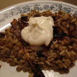 Lentils and Rice with Fried Onions (Mujadarrah) Allrecipes.com