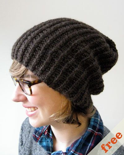 Simple Beanie Hat Knitting Pattern : Easy slouchy hat. Free pattern Knitting Pinterest