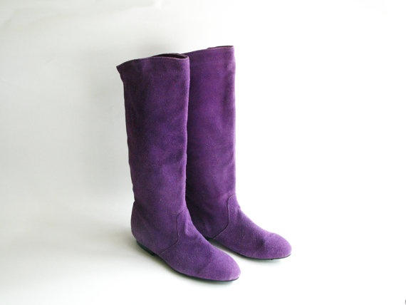 vintage purple suede knee high slouch boots size 8 5