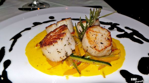 ... Sea Scallops with Crispy Vegetables Strings, Saffron Sauce & Squid Ink