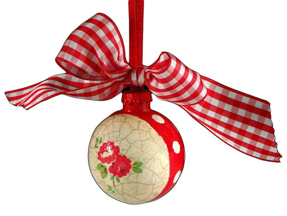 Polka dots and roses in red decoupaged Christmas decoration glass balls