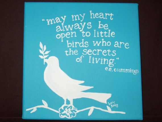 little bird ee cummings quote handpainted on canvas