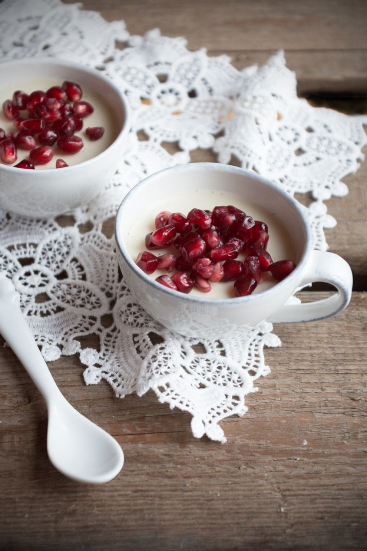 Chocolate & Coconut Panna Cotta With Pomegranate {flowers On My Plate