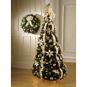 Christmas tree ribbon garland for the home pinterest How do i decorate my christmas tree with ribbon