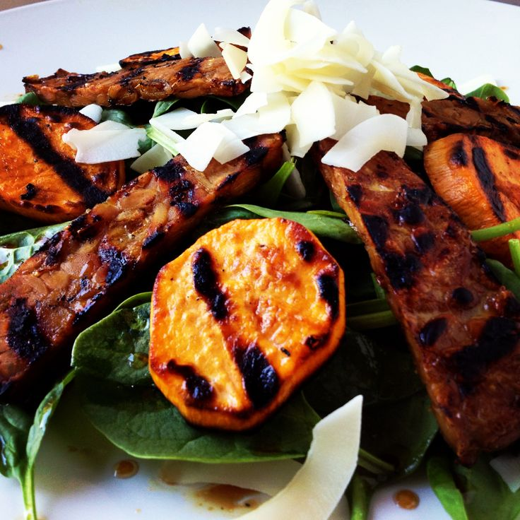 salad with grilled sweet potatoes, maple tempeh bacon and coconut ...