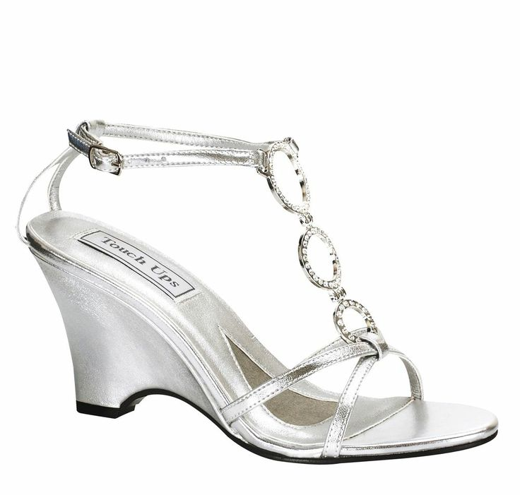 Womens Bridal Prom Silver Platform Wedge High Heels Sandals Shoes Arl