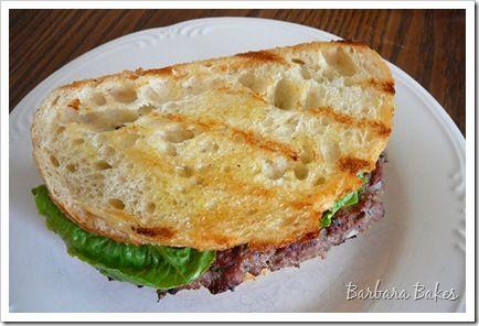 Caesar Salad Flank Steak Burgers with Garlic Crostini (there's wine in ...