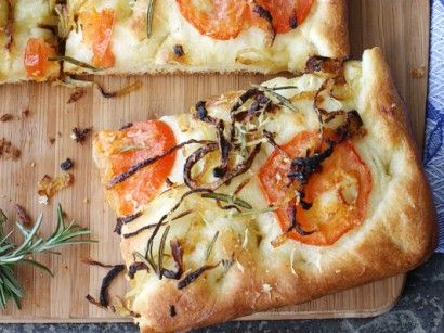 Focaccia with Caramelized Onion, Tomato & Rosemary   Tasty Kitchen: A ...