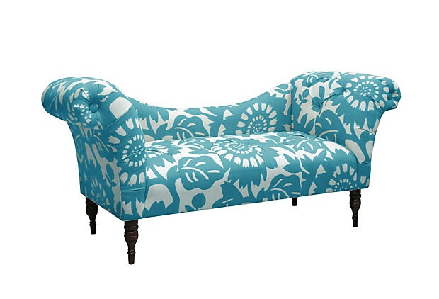 Cameron tufted chaise turquoise white for Cameron tufted chaise