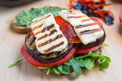 Grilled Eggplant and Roasted Red Pepper Sandwich with Halloumi | Reci ...