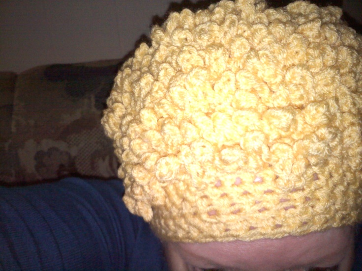 Crochet Curly Q Hair Ties : Curly hair crocheted hat Crochet Hats Pinterest