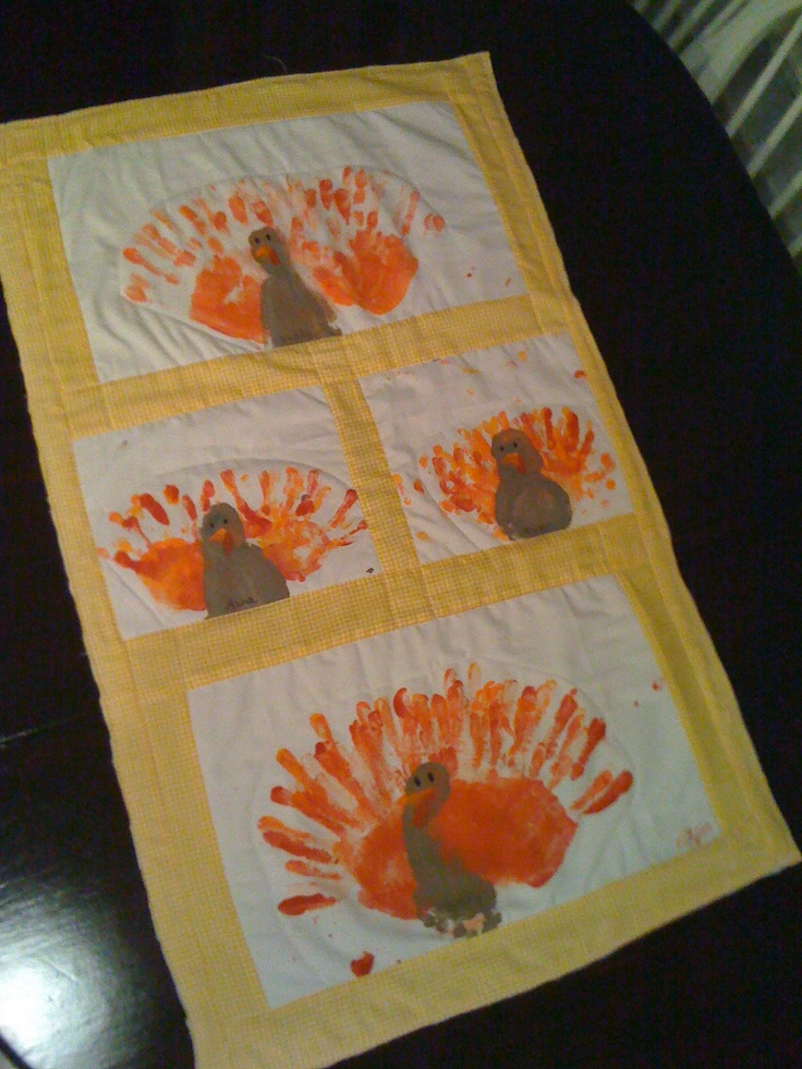 our family's turkey prints (from hands and feet). took the paintings and made a side table runner. Can't wait to use it this year.
