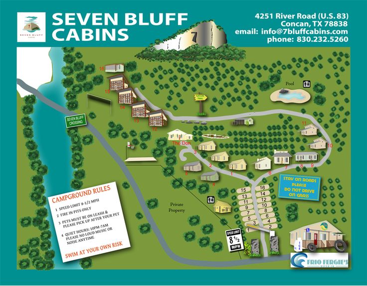 Property Map 7 Bluff Cabins Frio River Road Trips