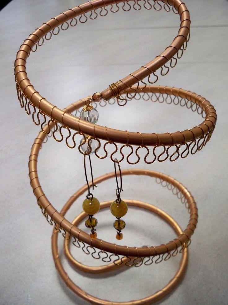spiral copper earring tree holder