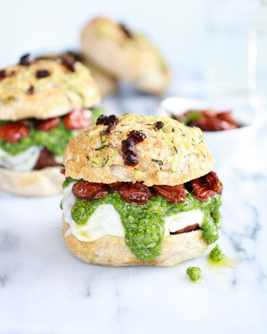 13. Pesto Portobello Mushroom Burgers with Roasted Tomatoes