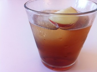 with ice, combine 2 ounces bourbon, 1 teaspoon homemade grenadine ...